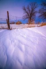 Twilight (Bryce Bradford) Tags: winter sunset snow texture barn twilight nikon colorado prairie plains f28 drift d800 14mm rokinon