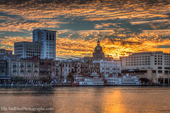 Sunset @ River Street (HisAndHerPhotographs.com) Tags: city sunset clock water skyline ga buildings river georgia boats ships historic hyatt savannah vessels sav riverstreet savannahriver