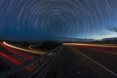 It's a Curved World (Explored) (mwhcvt) Tags: uk longexposure england trafficlights tourism truck lights long exposure traffic unitedkingdom trails trail warwickshire lightstreaks traffictrails traffictrail trafficstreaks trafficstream