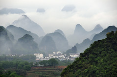 Limestone hills & village (Mel s away..) Tags: china panorama mist field fog rural countryside scenery pattern village farm yangshuo hill limestone layers melinda idyllic guangxi oolong    chanmelmel  paintnglike