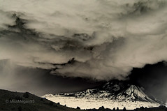 (102/234) Inverse & Awesome (MissMegan95) Tags: california travel trees sky mountain storm art nature beautiful rain clouds dark skyscape landscape volcano scenery unique awesome creative hills lightning northern mtshasta inverse thunder edit