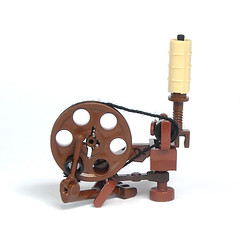Spinning Wheel (mijasper) Tags: thread lego furniture interior yarn bobbin spindle flax spinningwheel moc treadle spinnrad