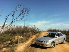 The 626. (Nathan Haddad) Tags: cameraphone road sky hot car bush phone samsung dirt galaxy nsw mobilephone mazda mazda626 626 galaxys3