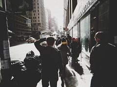 Busy NYC Street (JayCass84) Tags: street city nyc newyorkcity light people urban ny newyork building glass beautiful architecture skyscraper buildings skyscrapers awesome midtown busy lightpost bigapple bigcity streetview urbanstreetphotography urbanphotography busystreet instagram instagramapp