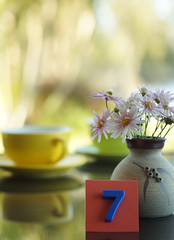 Table 7 (judith511) Tags: stilllife reflection cup coffee daisies 7 seven vase capucino saucer flowes 7daysofshooting lunchoutdoors tablenumber7 goforbokehtuesday week41number