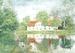 Mansion in a leafy park. (BirgittaSjostedt- away for a while.) Tags: industrialenvironment walloon walloonsuse watermirroring house old preserved traditional summer textured painted outside scen forsmark uppland sverige outdoor magicunicornverybest ie birgittasjostedt
