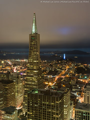 Cloudy San Francisco (DSC06337) (Michael.Lee.Pics.NYC) Tags: sanfrancisco night longexposure transamericapyramid coittower alcatraz bay aerial architecture cloudy loewsregency sony a7rm2 voigtlandernoktonclassic35mmscf14