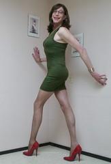 Red heels and green dress. (sabine57) Tags: crossdressing transvestism crossdress crossdresser cd tgirl tranny transgender transvestite tv travestie drag pumps highheels pantyhose tights dress tightdress