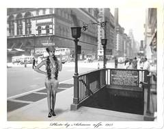 SEXY STREET PHOTO (ADRIANO ART FOR PASSION) Tags: vintage sexy streetphoto newyork bn monocromo blackandwhite photoshop fotomontaggio photomontage modella metro ingressometro 1943 oldphoto biancoenero midtownmanhattan photoshopcreativo