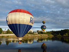 RE/MAX skimming the river (lucre101) Tags: remax great falls skimming hot air balloon festival usa america auburn lewiston maine river flying sky ballooning charity fund raiser booster