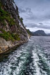 In the fjord (Jim Nix / Nomadic Pursuits) Tags: aurorahdrpro europe jimnix lightroom lysefjord nomadicpursuits norway preikestolen pulpitrock scandinavia sonya7ii stavanger fjord mirrorless travel waterfall