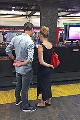 Mirror Image (AntyDiluvian) Tags: boston massachusetts mbta subway t station downtowncrossing platform girl guy couple elbows bent