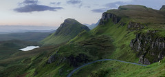 Skye cliffs before sunrise (Strength) Tags: skye quiraing hills cleat sunrise scotland green grass trotternishridge biodabuidhe dundubh winding road cliffs rocks outdoors wilderness wild lochcleat