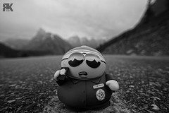 """Respect My Authoritaaaay!"" (ryan.kole32) Tags: banff banffalberta banffnationalpark nationalpark alberta canada canadianrockies rockies rockymountains morainelake morainelakeroad road street highway pavement sony sonya77 prop props blackandwhite monochrome black white ericcartman southpark perspective pov depthoffield dof landscape nature beauty beautyinnature humour"