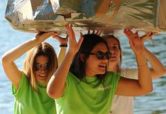 Boehmer House Girls (Poocher7) Tags: people groupshot portrait river water carboardboat ducttape sunglasses exited greentshirts whitetshirt blonde sandyhair darkhair sorority collegegirls race boatrace fun watersports