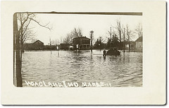 The Great Flood of 1913, Hoagland, Indiana (Hoosier Recollections) Tags: houses horses people usa history boys kids buildings walking children clothing barns indiana streetscene transportation porch pedestrians streams buggy residential buggies wagons allencounty hoagland realphoto hoosierrecollections