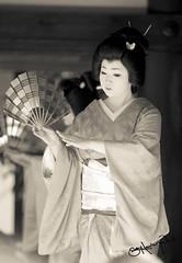 Kimono Girl 3 (SamHawleywood) Tags: girls people blackandwhite japan japanese blackwhite dance spring beans kyoto faces dancing traditional ceremony maiko geisha kimono samurai fans hawleywood samhawleywood