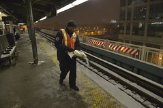 Keeping Customers Safe (MTAPhotos) Tags: snow subway snowstorm n 7 queens q queensboroplaza newyorkcitytransit