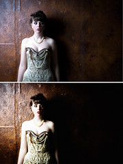 Green corset cinematic retouching example (catanachapodaca) Tags: shadow portrait woman green mystery photoshop movie necklace still noir pearls pale corset redlips brunette bangs cinematic retouch glance enhanced beforeafter pearlnecklace alabaster kaichanvong catanachapodaca