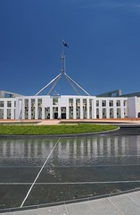 Parliament House and the pool in front (Adriano_of_Adelaide) Tags: architecture pond entrance australia parliament canberra flagpole act parliamenthouse grandbuilding