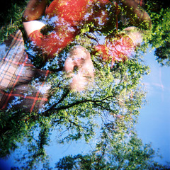 Picnic in the sky (Kerrie McSnap) Tags: trees sky color colour 120 film grass mediumformat square holga lomo lomography picnic doubleexposure toycamera relaxing rug northfitzroy edinburghgardens kodakportra