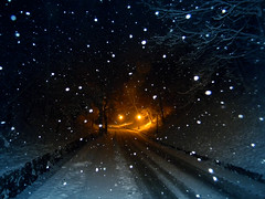 DSCN6046 lonely roads - ON EXPLORE # 8 (pinktigger) Tags: road winter light italy snow italia lamplight lampion friuli nighr fagagna feagne