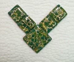 Polymer clay focal pendant tile beads green gold faux jade (Sweet2Spicy) Tags: green tile gold beads jade clay faux pendant polymer focal
