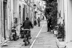 Sunday morning in the old town of Rethymno (Theophilos) Tags: old people bike town alley crete rethymno