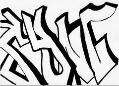 SYNC Lettering. (SyncGraffiti) Tags: bw art graffiti cool sticker tag scan sync lettering dope custom slaptag
