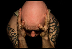 Head in hands. (CWhatPhotos) Tags: pictures blue light shadow portrait fish man male eye art tattoo self canon pose dark hair that lens photography eos focus artist foto shadows looking view image artistic pics body head no manly bald picture down pic images tribal tattoos fisheye have upper photographs photograph fotos 7d slap manual lookingdown emotional tribe tat which contain baldy slaphead inked selfie baldhead tats shadowed tatt tatts 65mm aspherical opteka selfies selfees selfee cwhatphotos