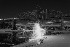 Train, bridges, stars and sparks. (Fredrik Svanholm) Tags: bridge winter light snow cold ice norway night train canon dark lens stars eos steel bridges trains kit 1855mm sparks fredrik eidsvoll whool svanholm 650d minnesund