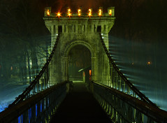 There is Light... (Toussaint Dominique) Tags: bridge light mist fog night lights mood moody atmosphere romania rays parc beams craiova romanescu