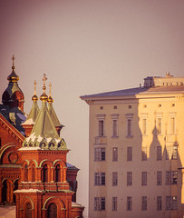 Katajanokka (miemo) Tags: city windows winter shadow sky building brick church wall finland evening helsinki europe exterior cathedral towers olympus telephoto omd redbrick katajanokka uspenski em5 panasonic100300mm