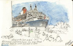 7Mar13 Queen Mary 2 (alissa duke) Tags: pencil ink ship sydney circularquay watercolour queenmary2