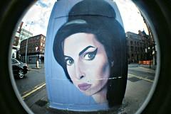 Amy Winehouse by Akse, Manchester (8333696) Tags: street camera urban fish streetart eye art film wall 35mm manchester tin graffiti lomo lomography mural paint artist amy can spray fisheye painter quarter spraypaint aerosol northern amywinehouse winehouse akse