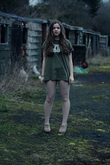 Becca (Rachel Keeeeelly) Tags: abandoned nerd girl fashion canon scotland long legs fashionphotography skirt eerie creepy bow tall wreck modelling stables midlothian