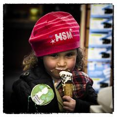 Emily still loves ice cream (Frank Fullard) Tags: street ireland red portrait irish candid icecream loves mayo castlebar fullard frankfullard
