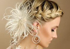 bridal hairstyle (munnybear) Tags: hair braids braidedhair chandelierearrings hairornaments fethers bridalhairstyles weddingbraids