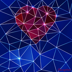 Background with heart and triangle polygons. (Slanapotam) Tags: pink wedding red wallpaper holiday abstract color texture love geometric dark paper happy design engagement triangle couple colorful day pattern heart graphic bright crystal sweet background 14 decoration creative style marriage wrap valentine minimal diamond invitation card elements romantic concept february shape greeting polygon tender triangulation womansday polygonal bemy savemoment
