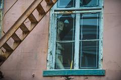 A picture about burglar alarm tape (Friendly Joe) Tags: mannequin window neworleans fireescape nola vieuxcarre paintchips frenchsquare