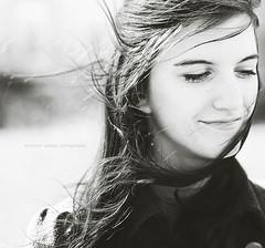 Here comes the sun (Eleonora G.) Tags: portrait blackandwhite sun girl smile face hair wind naturallight