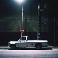 (Josh Sinn) Tags: street longexposure light color 120 6x6 film night truck mediumformat dark md post kodak tripod maryland pickup baltimore stopsign late 100 yashicamat124g ektar cablerelease