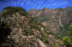 Eagles Ridge from Tom's Tum, 1994 (NettyA) Tags: park clouds canon rocks fuji mt australia velvia national bushwalking scanned queensland 1994 barney seq eos500 35mmslidefilm eaglesridge