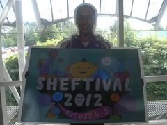 cardboard cutout of Jessica Ennis holding sheftival artwork (JON BOAM) Tags: jon jessica ennis 2012 boam sheftival
