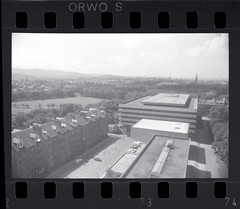 View (Area Bridges) Tags: blackandwhite tower film scotland edinburgh university view pentax library 1988 holes scan negative scanned sprockets mesuper universityofedinburgh orwo sprocketholes davidhumetower