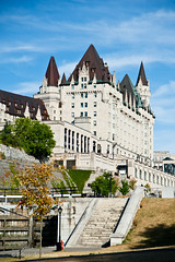 Fairmont Chateau Laurier (Duda Arraes) Tags: blue sky ontario canada castle canal ottawa northamerica chateau laurier fairmont rideau federation nationalcapital