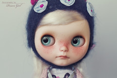 ~Pippa~ (-Poison Girl-) Tags: blue girl hat mouth nose carved eyes doll dolls eyelashes turquoise teal helmet carving sleepy blogged vanilla blythe freckles tole mei pippa poison custom simply takara poisongirl meimei customs freckle pecosa scalp pecas blythes eyechips philtrum blythecustom rechipped toletole tol simplyvanilla