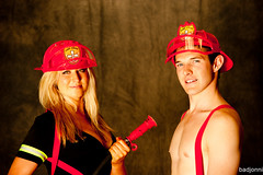 Firehose (badjonni) Tags: shirtless guy girl pose fire model dude warehouse fireman
