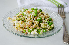 fregola sarda with peas, zucchini, feta, and almonds (sassyradish) Tags: cooking spring pasta vegetarian almonds peas kosher zucchini feta sassyradish