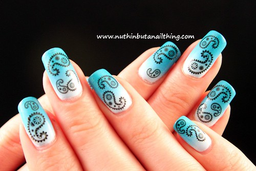 Paisley nails, and a blue gradient